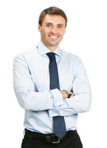 Portrait of happy smiling young business man, isolated on white background